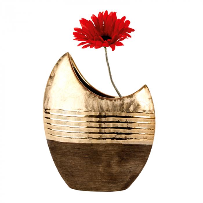 Vaza ceramica, forma de luna, maro cu auriu, 23 cm 2