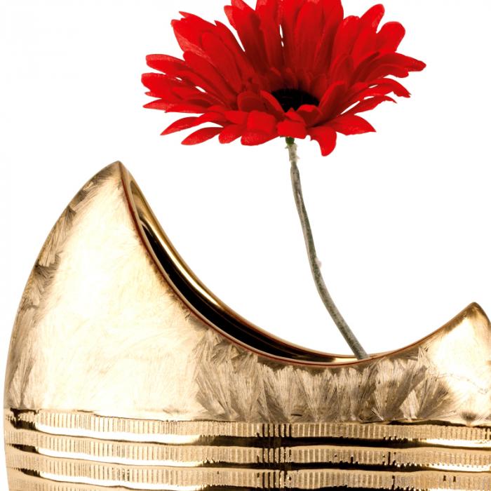 Vaza ceramica, forma de luna, maro cu auriu, 23 cm 3