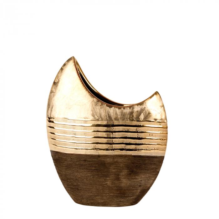 Vaza ceramica, forma de luna, maro cu auriu, 23 cm 0