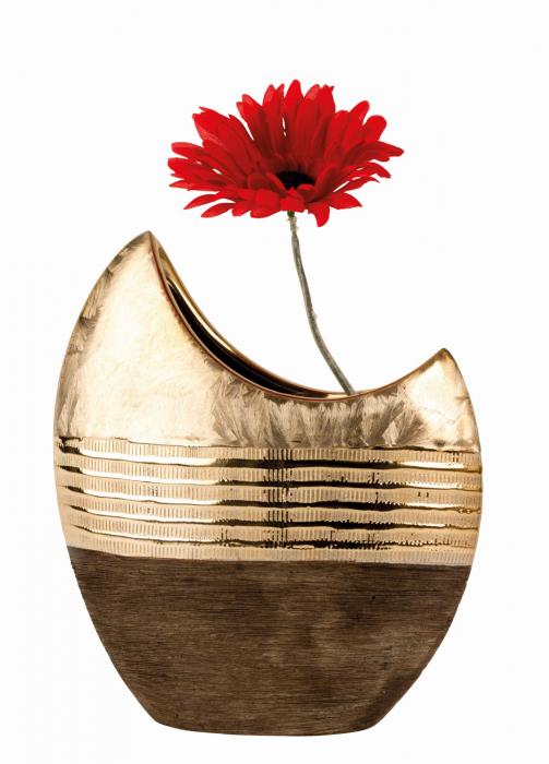 Vaza ceramica, forma de luna, maro cu auriu, 23 cm 1