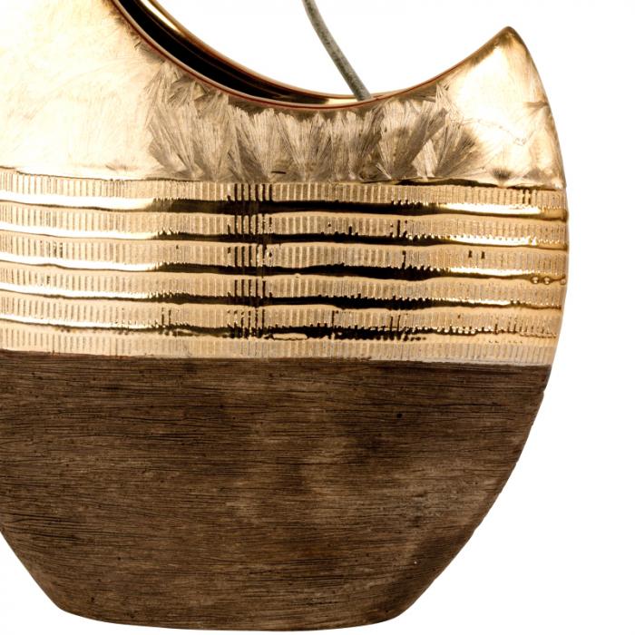 Vaza ceramica, forma de luna, maro cu auriu, 23 cm 5