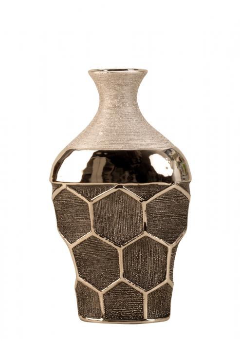 Vaza ceramica gat ingust model fagure culoare argintiu  29.5x17.5 cm 1