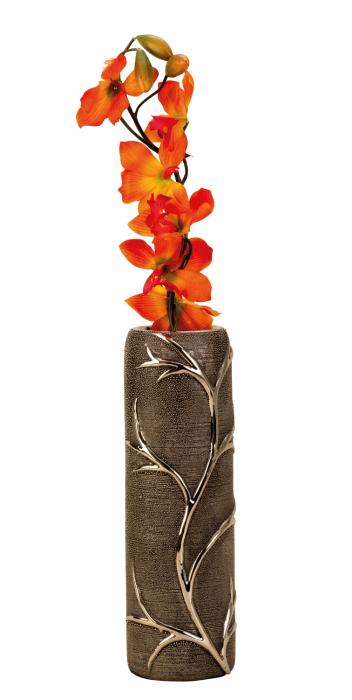 Vaza ceramica gofrata, cu nervuri, culoare Argintie/Negru, 30.5x10 cm 1