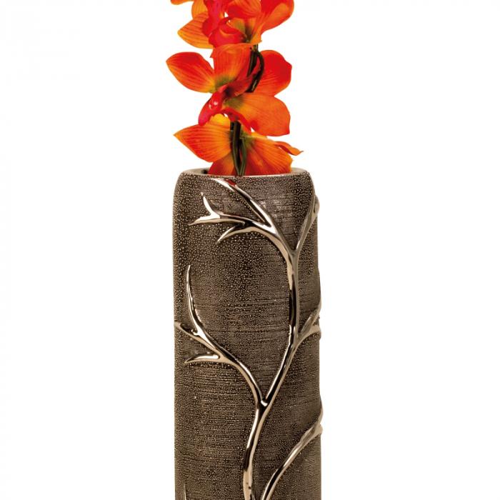 Vaza ceramica gofrata, cu nervuri, culoare Argintie/Negru, 30.5x10 cm 5
