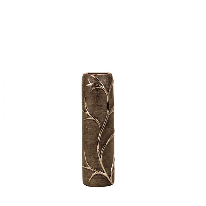 Vaza ceramica gofrata, cu nervuri, culoare Argintie/Negru, 30.5x10 cm 3