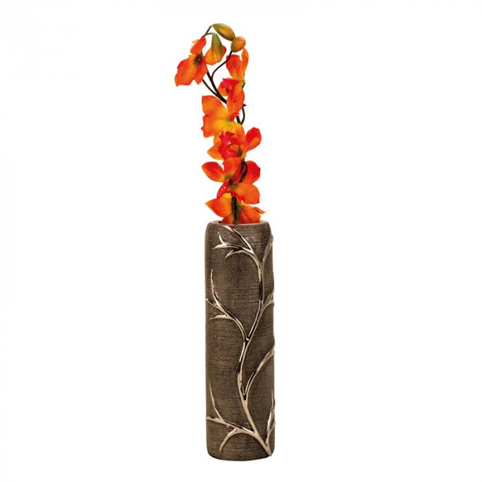 Vaza ceramica gofrata, cu nervuri, culoare Argintie/Negru, 30.5x10 cm 0
