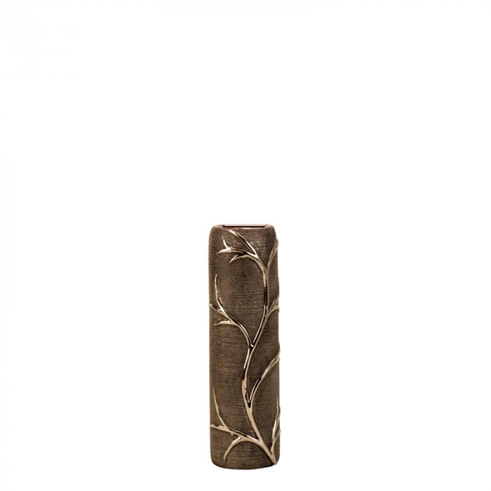Vaza ceramica gofrata, cu nervuri, culoare Argintie/Negru, 30.5x10 cm 4
