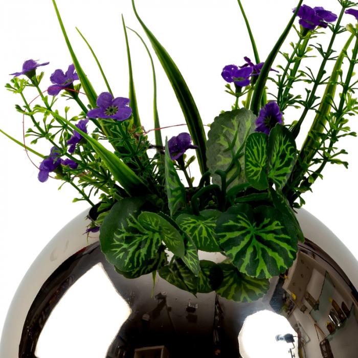 Vaza din Otel, Sferica, Argintie, 18 cm 2