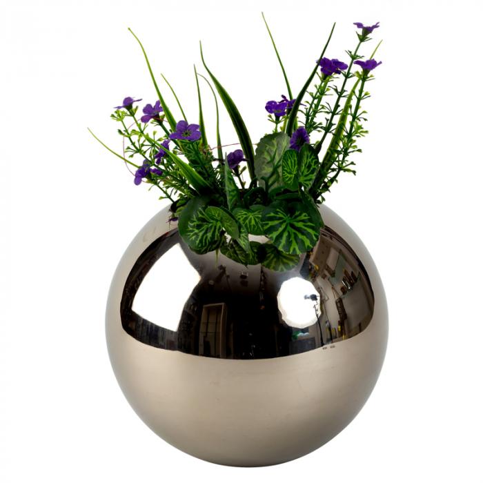 Vaza din Otel, Sferica, Argintie, 18 cm 1