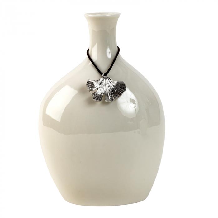 Vaza Portelan, cu decor frunza metal, Alba,19,5x13 cm 1