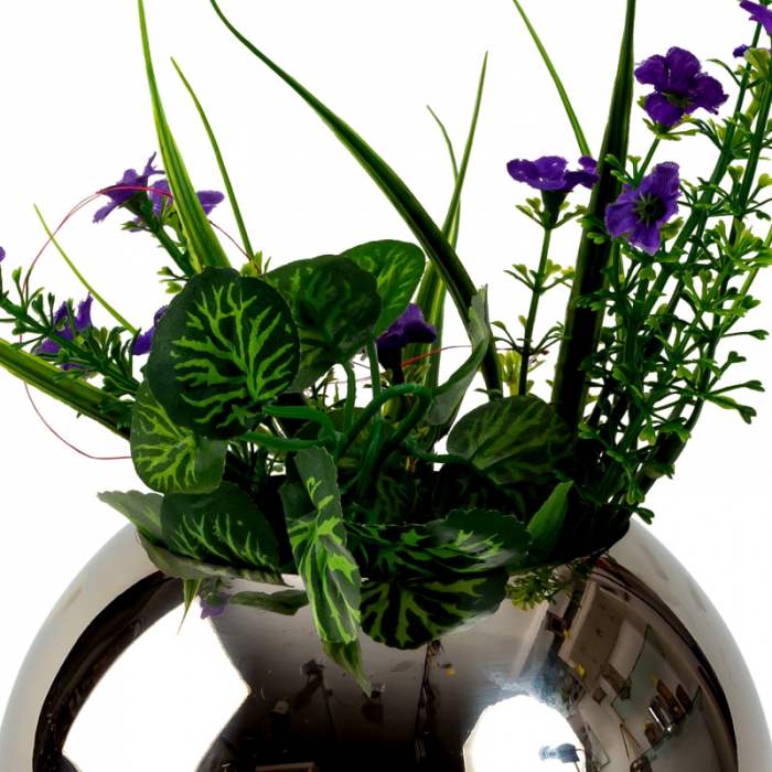 Vaza sfera din otel inoxidabil diametru 15 cm 2