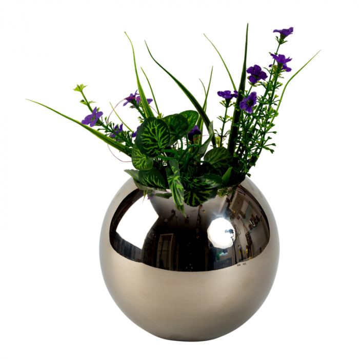 Vaza sfera din otel inoxidabil diametru 15 cm 1