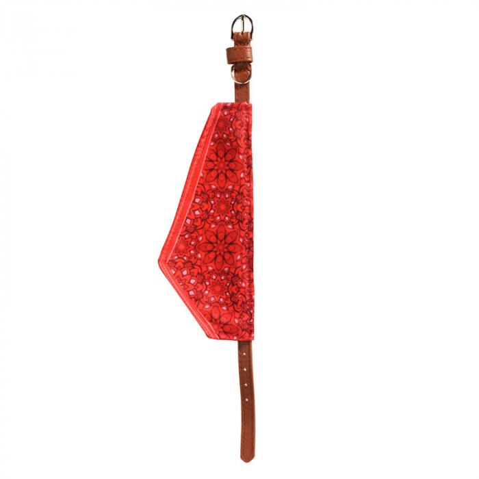 Zgarda pentru Caine ajustabila din Piele Maro, cu batic Rosu inflorat, talie mica si medie 2