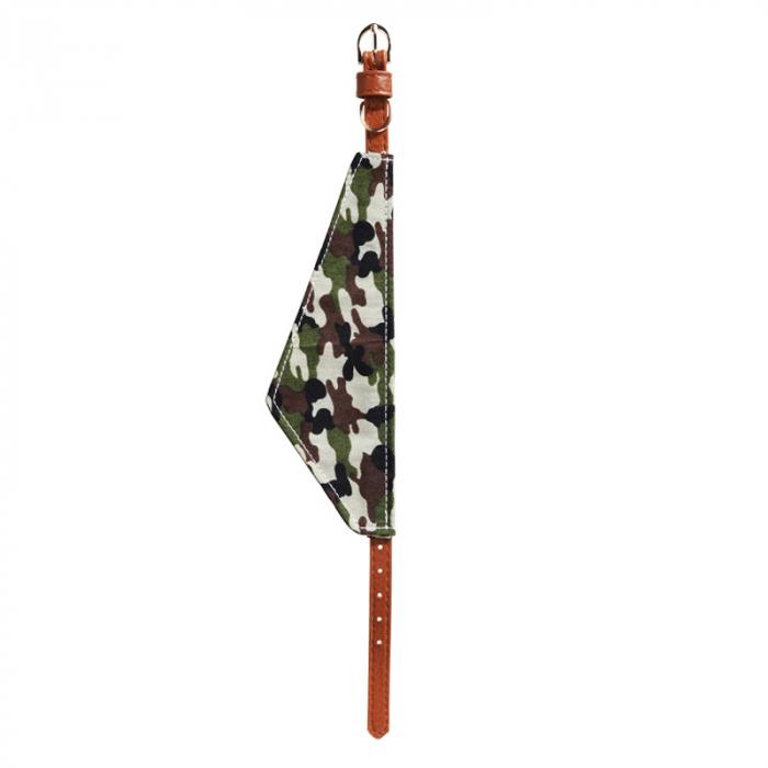Zgarda pentru Caine din Piele Maro, cu batic model Camuflaj Army, talie mica si medie 1