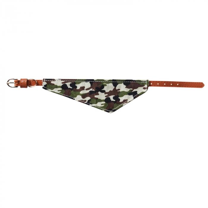 Zgarda pentru Caine din Piele Maro, cu batic model Camuflaj Army, talie mica si medie 0