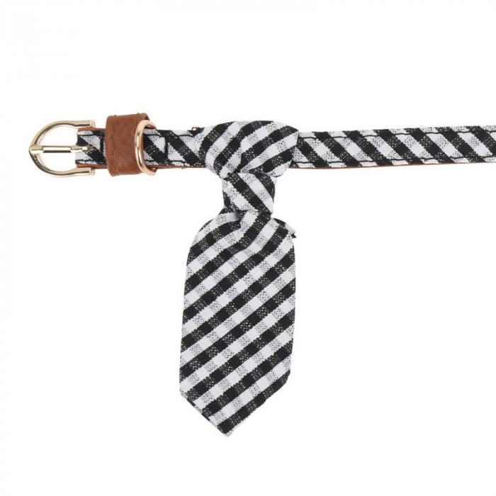 Zgarda pentru Caine Alba cu Romburi si Cravata, talie mica si medie 0