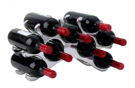 Suport modern de Sticle Vin, NAGO, Metal Cromat, capacitate 9 Sticle, H25 cm l 42 cm, G 1.26 kg0