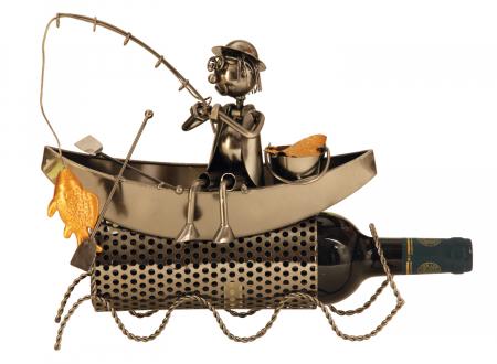 Suport modern de Sticle Vin, Pescar pe Barca, pescuind un Peste Auriu, Metal lucios, Maro/Negru, capacitate 1 Sticla, H 27 cm0