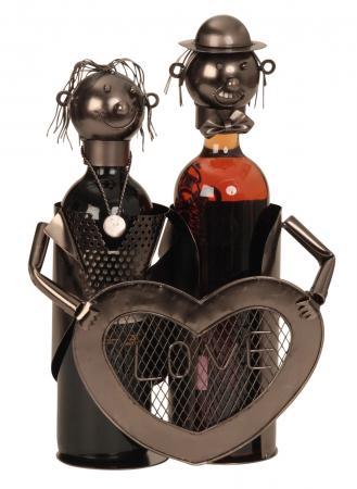 Suport modern de Sticle Vin, NAGO, model cuplu de indragostiti, cu inima LOVE, Metal Lucios, Maro/Negru, capacitate 2 Sticla, H 32 cm, I 24 cm0