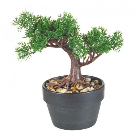 Bonsai artificial 19 cm verde inchis0