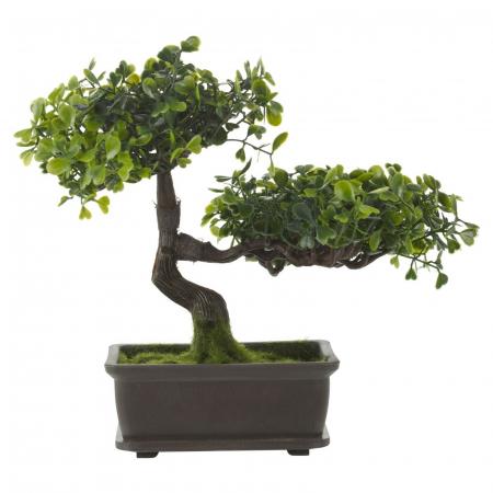 Bonsai artificial, Verde deschis si inchis, dimensiunea de 23cm [4]