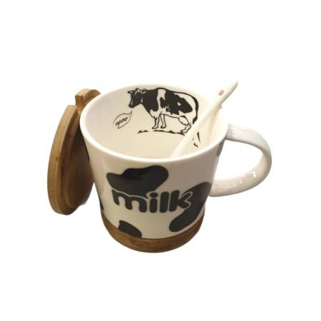 Cana cu lingurita ceramica, suport si capac din bambus, model milk, Negru 300 ml [1]