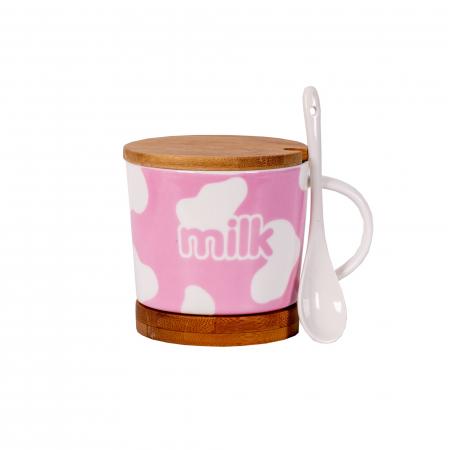 Cana cu lingurita ceramica, suport si capac din bambus, model milk, Roz 300 ml [0]
