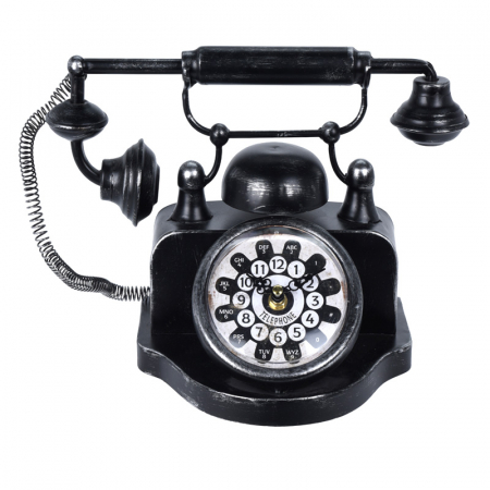 Ceas de masa din metal, model telefon Retro, Negru, 31x17x20cm, G 935 g0