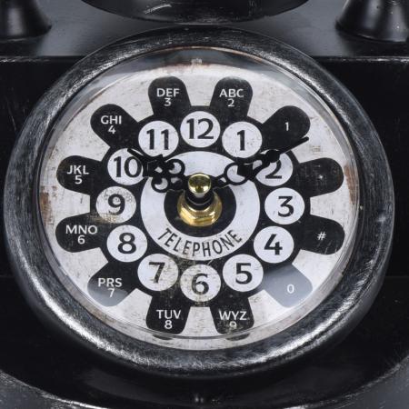 Ceas de masa din metal, model telefon Retro, Negru, 31x17x20cm, G 935 g1