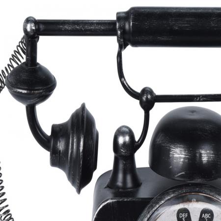 Ceas de masa din metal, model telefon Retro, Negru, 31x17x20cm, G 935 g2