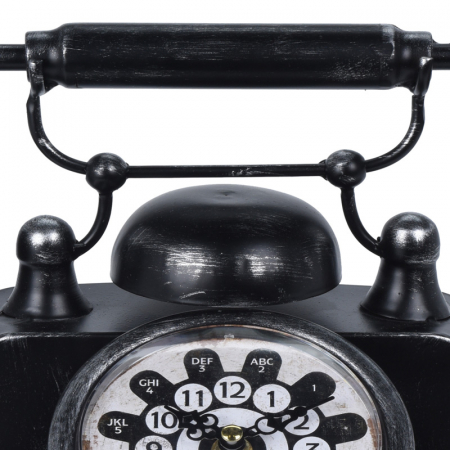 Ceas de masa din metal, model telefon Retro, Negru, 31x17x20cm, G 935 g5