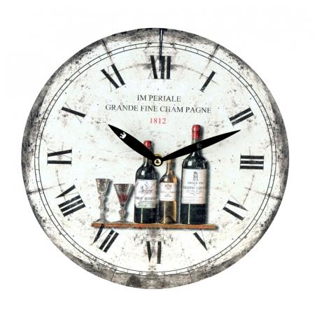 Ceas de perete alb cu model sticla de vin model0