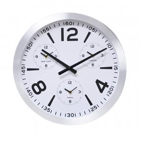 Ceas de perete din Aluminiu, 45.5x5.4cm, cadran Alb, rama groasa argintie0