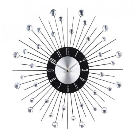 Ceas metal de perete, cu pietre acrilice, design modern, 42x42x4cm, Aluminiu [0]
