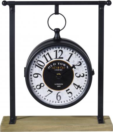 Ceas negru cu alb din metal pe suport  27x10x31cm0