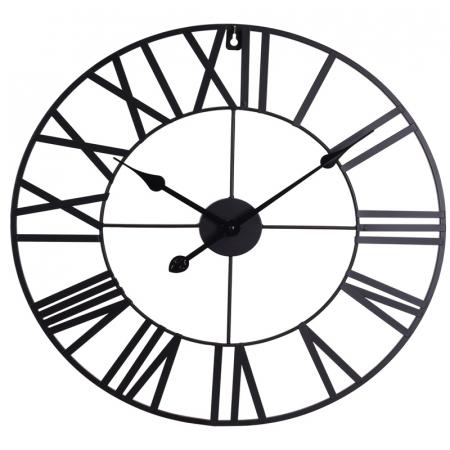 Ceas de Perete, din metal, stil Vitange, Negru, 57x3cm0