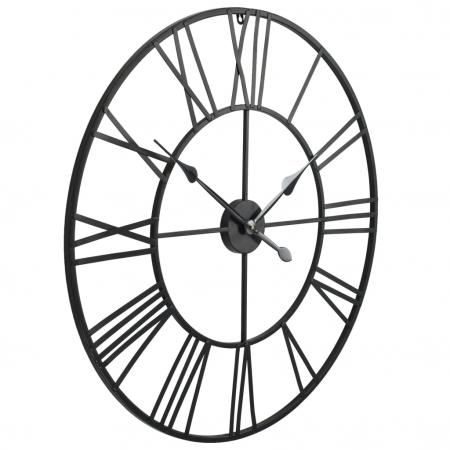 Ceas de Perete, din metal, stil Vitange, Negru, 57x3cm2