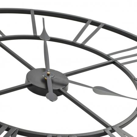 Ceas de Perete, din metal, stil Vitange, Negru, 57x3cm3