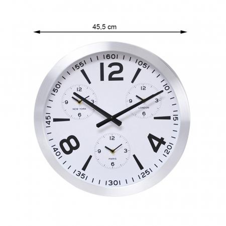 Ceas de perete din Aluminiu, 45.5x5.4cm, cadran Alb, rama groasa argintie3
