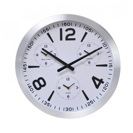 Ceas de perete din Aluminiu, 45.5x5.4cm, cadran Alb, rama groasa argintie1
