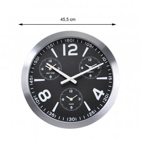 Ceas de perete din Aluminiu, 45.5x5.4cm, cadran Negru cu 3 ceasuri mici, rama groasa argintie1