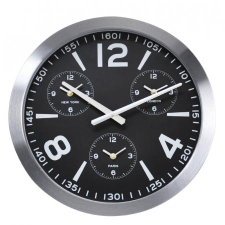 Ceas de perete din Aluminiu, 45.5x5.4cm, cadran Negru cu 3 ceasuri mici, rama groasa argintie0