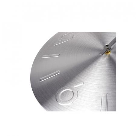 Ceas perete din Aluminiu, cu limbi Argintii, D 35cm, Argintiu3
