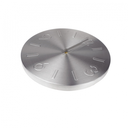 Ceas perete din Aluminiu, cu limbi Argintii, D 35cm, Argintiu0