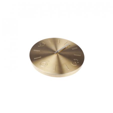 Ceas de perete Auriu din Aluminiu, cu limbi Argintii, D35 cm2