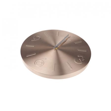 Ceas de perete din Aluminiu, culoare Bronz cu limbi Argintii, D35 cm0