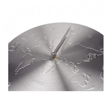 Ceas de perete Argintiu, din Aluminiu, cu limbi Argintii, D 35cm, model Harta Lumii2