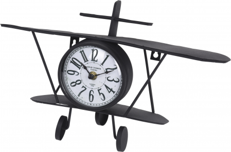 Ceas/polita metal forma avion 37.5x10x20cm0