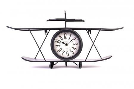 Ceas de Perete metalic, model Avion, stil Polita, Negru, 64.2x35.5x16cm G1kg, D ceas 16cm1