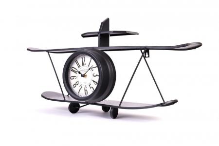 Ceas de Perete metalic, model Avion, stil Polita, Negru, 64.2x35.5x16cm G1kg, D ceas 16cm0